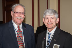 Left to right: Felix Barker, O.D., the VCE's Associate Director of Research, with Tom Zampieri, Ph.D. (Blinded Veterans Association)