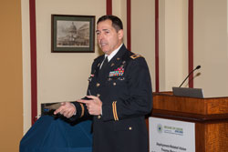 Colonel Donald Gagliano, M.D., Director of the Joint DOD/VA Vision Center of Excellence,  provided a welcome and explained how Dr. Nguyen's work is addressing several DOD-identified vision research gaps