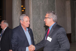 AEVR Executive Director James Jorkasky (right) greets Cong. Richard Nolan (D-MN)