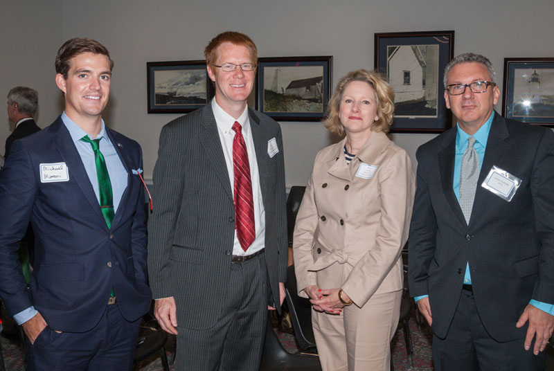 Left to right: Michael Maroni (Alliance for Aging Research), Guy Eakin, Ph.D. (BrightFocus Foundation), Ruth Ann Burns (Regeneron, Inc.) and AEVR Executive Director James Jorkasky