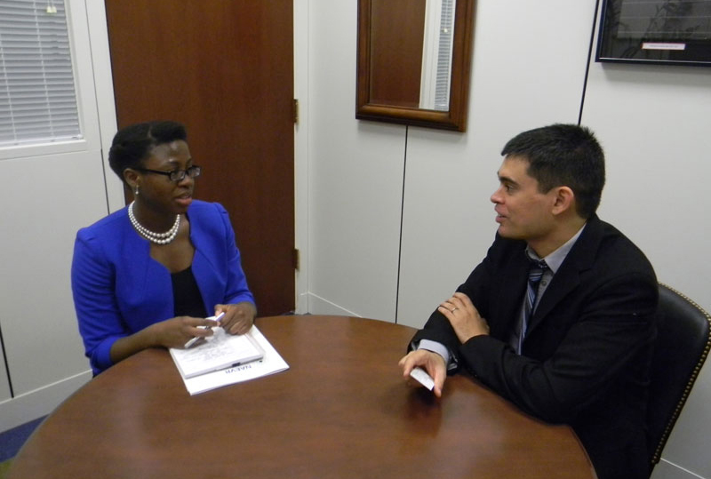 Dr. Abecasis discusses the sequester's impact on young scientists with Janelle McClure in the office of Senator Debbie Stabenow (D-MI)