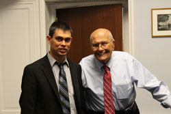 Dr. Abecasis with Cong. John Dingell (D-MI), Chairman Emeritus of the House Energy and Commerce Committee with oversight jurisdiction over the NIH