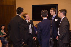 Far right and second right: Dr. Kashani and ARVO's Matt Windsor, Ph.D. speak with a group of Emerging Vision Scientists among the 22 participating in AEVR's Second Annual EVS Day on Capitol Hill