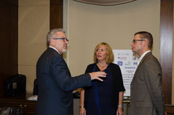 AEVR Executive Director James Jorkasky with Dawn Prall George, Executive Director of the Macula Vision Research Foundation—and event co-sponsor—and Michael Oscar, MVRF legislative counsel