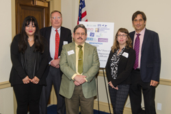 Representatives from AEVR member organization and event co-sponsor American Macular Degeneration Foundation (AMDF) participated in the Congressional Briefing and made visits to the offices of key Congressional leaders.  Left to right: Neena Haider, PhD (Mass Eye & Ear/Harvard), Chip Goehring, Paul Gariepy, Jennifer Williams, and Matt Levine