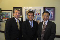 AEVR's James Jorkasky and Spencer Young (center) of the office of Cong. Susan Davis (D-CA)