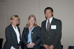 Dr. Zhang (right) was joined by representatives of briefing co-sponsor organizations, including Cynthia Stuen, Ph.D. (Lighthouse International) and Allie Laban-Baker (AMD Alliance International)