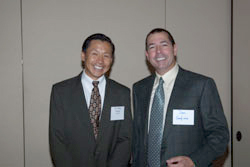 Dr. Zhang with Colonel Donald Gagliano, M.D., Director of the Vision Center of Excellence within the Department of Defense (DOD)