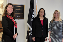 ARVO's Julene Joy, Haiyan Gong, MD, PhD (Boston University), and Faina Dookh, office of Senator Elizabeth Warren (D-MA)