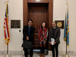 Salil Lachke, PhD, left, and Dr. Shihan, right, (both University of Delaware) with Kelsey Magill, office of Senator Chris Coons (D-DE)