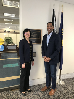 Yali Jia, PhD (Oregon Health & Science University) with Anthony Mitchell, office of Senator Jeff Merkley (D-OR), an LHHS appropriator with funding jurisdiction over NIH