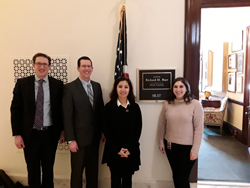 From left: Derek Royer, PhD (Duke University), Richard Lee, PhD (University of Bristol, UK), Goldis Malek, PhD (Duke University), and Rachel Soclof, office of Senator Richard Burr (R-NC)
