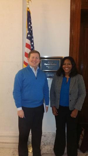 From left: John Eunice, office of Senator David Perdue (R-GA) and Folami Powell, Ph.D. (Medical College of Georgia)