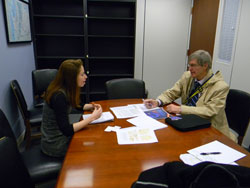 ARVO President John Clark, Ph.D. (University of Washington), right, with Maddie Pannell, office of Senator Patty Murray (D-WA), who is the Ranking Member of the Senate LHHS Appropriations Subcommittee and Senate Health, Education, Labor, and Pensions (HELP) Committee, with appropriations and authorization jurisdiction over NIH, respectively