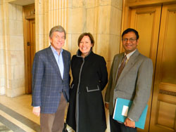 Senator Roy Blunt (R-MO), Chairman of the Senate Labor, Health and Human Services, and Education (LHHS) Appropriations Subcommittee, with Rigmor Baraas, Ph.D. (University College of Southeast Norway) and Uday Kompella, Ph.D. (University of Colorado). The researchers ran into Chairman Blunt in the hallway and thanked him for championing the $2 billion FY2016 NIH funding increase.