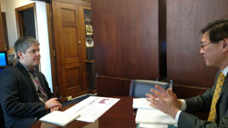 David Bond, office of Cong. Katherine Clark (D-MA) with Howard Ying, M.D., Ph.D. (Boston University)