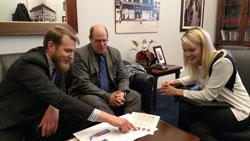 Matthew van Hook, Ph.D. and Scott Nawy, Ph.D. with Janelle Hinze, M.D., office of Cong. Brad Ashford (D-NE)
