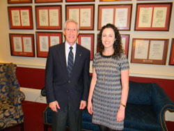 Tom Brunner, Glaucoma Research Foundation, with Erin Katzelnick-Wise, from the office of Congresswoman Anna Eshoo (D-CA), who serves on the House Energy & Commerce Committee with NIH oversight