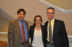 From left: RPB's Matt Levine, Lauren Jee, from the office of Senator Richard Blumenthal (D-CT), and Michael Crair, Ph.D. from the E. Matilda Ziegler Foundation and the Yale University School of Medicine