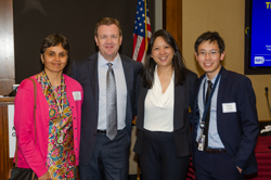 Sangeeta Bhargava, PhD, NEI's Program Director, Collaborative Clinical Research Program who manages the DRCR Retina Network, with Dr. Martin, Dr. Sun, and NEI's Jimmy Le, ScD