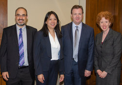 From left: Shefa Gordon, PhD, NEI's Director of the Office of Program Planning and Analysis, Dr. Sun, Dr. Martin, and Mary Hanlon-Tilghman, PhD, Health Science Policy Analyst in the Office of Scientific Program and Policy Analysis at the National Institute of Diabetes and Digestive and Kidney Diseases (NIDDK)