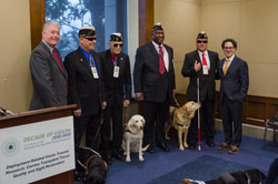 From left: Kevin Corcoran, Executive Director of the Eye Bank Association of America (EBAA), Dale Stamper, National President of Blinded Veterans Association (BVA), Joe Parker, BVA's National Vice President, Paul Mimms, BVA's National Secretary, Mark Cornell, BVA's Immediate-Past National President, and Dr. Greiner. BVA is a Briefing co-sponsor.