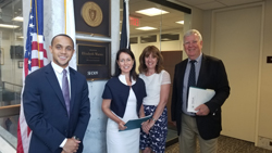 From left: Alex Davidson, office of Sen. Elizabeth Warren (D-MA), Ms. Sullivan, Dr. Jacobs, and Dr. Sullivan