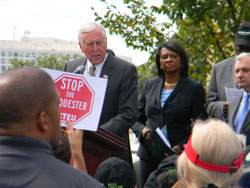 "House Minority Whip Steny Hoyer (D-MD) addresses the crowd at the ""Raise the Caps"" rally hosted by the Nondefense Discretionary United coalition"