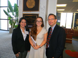 Reyna Martinez-De Luna (SUNY Upstate Medical University), left, and RPB President Brian Hofland, Ph.D. (right) with Morgan Brand in the office of Senator Charles Schumer