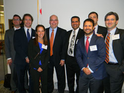 California was represented by seven Emerging Vision Scientists, who visited the offices of Senator Barbara Boxer (D-CA) and Senator Dianne Feinstein (D-CA) as a delegation. From left: Marc  Levin, M.D., Ph.D. (University of California/San Francisco), Eric Nudleman, M.D., Ph.D. (University of California/San Diego), Stacy Pineles, M.D. (Jules Stein Eye Institute/UCLA), Rick Patrick in the  office of Senator Feinstein, Pinakin Davey, O.D., Ph.D. (Western University of Health Sciences College of Optometry), Jack Whalen, III, Ph.D. (USC Eye Institute/Keck School of Medicine, University of Southern California), William Tuten, O.D., Ph.D. (University of California/Berkeley) and Amir Kashani, M.D., Ph.D. (D (USC Eye Institute/Keck School of Medicine, University of Southern California).