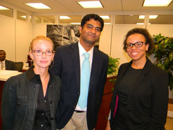 Left to right: Heather Chandler, O.D.  (Ohio State University College of Optometry) and Sumit Bhattacharya, Ph.D. (University of Toledo Medical Center) with LaTasha Lee, Ph.D., M.P.H. in the office of Senator Sherrod Brown (D-OH), who also attended the AEVR reception