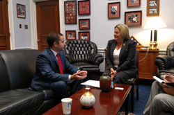 Daniel Peleaz, Ph.D. (University of Miami/Bascom Palmer Eye Institute) with Congresswoman Ileana Ros-Lehtinen (R-FL), a co-Chair of the Congressional Vision Caucus