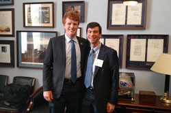 Cong. Joseph Kennedy III (D-MA) with Jason Comander, M.D., Ph.D. (Massachusetts Eye & Ear Infirmary/Harvard School of Medicine). Cong. Kennedy played lacrosse in college with another EVS participant, Marc Levin, M.D., Ph.D. (University of California/San Francisco).