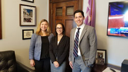 From left: Diana Friedman, Director of Communications for Research to Prevent Blindness, Rose Pasquale, BS (SUNY Upstate), and Timothy Wang, office of Cong. John Katko (R-NY)