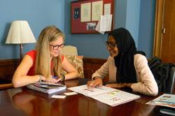 From left:  Nikki Hurt, office of Senator Ed Markey (D-MA) with Hajirah Saeed, MD (Mass Eye & Ear/Harvard)