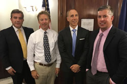 From left: George Asimellis, PhD (Kentucky College of Optometry, University of Pikeville), Senator Rand Paul, MD (R-KY), an ophthalmologist, James Rogala OD (Kentucky College of Optometry, University of Pikeville), and Patrick Scott, OD, PhD (University of Louisville)