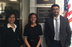 From left: Elsa Zhuang, PhD	(Illinois College of Optometry), Jasmine Wyatt, office of Senator Richard Durbin (D-IL), and Asim Farooq, MD (University of Chicago)