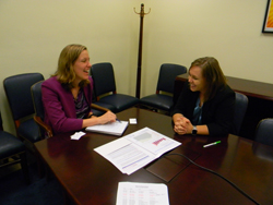 Kathryn Irwin, office of Senator Kamela Harris (D-CA), with Tawna Roberts, OD, PhD (Akron Children's Hospital, soon to join Stanford University Department of Ophthalmology)