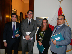 From left: Alfonso Sabater, MD, PhD (University of Miami/Bascom Palmer), Eduardo Sacasa, Office of Senator Marco Rubio (R-FL), Cristina Law OD, PhD, (Nova Southeastern U. College of Optometry), and Cristhian Ildefonso, PhD (University of Florida). Senator Rubio serves on the Senate LHHS Appropriations Subcommittee, with funding oversight for NIH/NEI.
