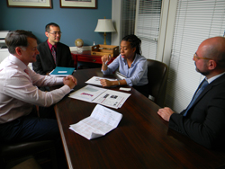 From left: Kevin Houston, OD and David Wu, MD, PhD (Harvard University/Mass Eye & Ear), Briana Battle, office of Senator Ed Markey (D-MA), and Thanasis Panorgias, PhD (New England College of Optometry)