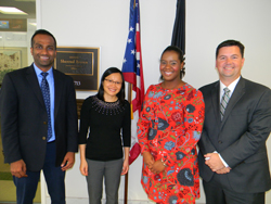 From left: Onkar Sawant, PhD (Cleveland Clinic/Cole Eye Institute), Jenny Huang, OD, PhD (Ohio State College of Optometry), Alyssa Brockington, office of Senator Sherrod Brown (D-OH), and Justis Ehlers, MD (Cleveland Clinic/Cole Eye Institute)