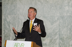 AEVR Board President Peter McDonnell, MD (Wilmer Eye Institute/Johns Hopkins University School of Medicine) addresses the crowd
