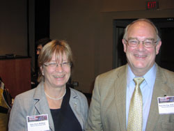 Lore Anne McNicol, Ph.D. (Director of NEI's Division of Extramural Research) and Paul Sieving, M.D., Ph.D. (NEI Director