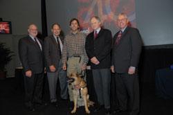 Left to right: NEI Director Paul Sieving, M.D., Ph.D., Ed Weihenmayer (Erik's father), Erik Wiehenmayer, NEI program Director Michael Oberdorfer, Ph.D., and Robert Beckman, President and CEO of Wicab, Inc.