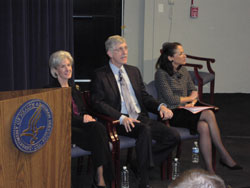 Left to right:  DHHS Secretary Kathleen Sebelius, NIH Director Francis Collins, M.D., PhD., and FDA Commissioner Margaret Hamburg, M.D.