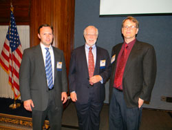 Left to right: John Wittenborn (National Opinion Research Center/University of Chicago), the PB study author, presented results; John Crews, D.P.A. of the Center for Disease Control and Prevention's (CDC) Vision Health Initiative, spoke about vision impairment and chronic conditions; and Bernard Steinmann, Ph.D. of the Gerentology Institute at the University of Massachusetts Boston, spoke about vision and falls