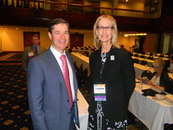Left to right: Neil Bressler, M.D. (Wilmer Eye Institute/Johns Hopkins University School of Medicine) spoke about the impact of diabetes-he serves as the Chair of the National Eye Institute's (NEI) Diabetic Retinopathy Clinical Research Network, while Cynthia Owsley. Ph.D. (University of Alabama at Birmingham), who served as a moderator,  is the leading researcher on safe senior driving