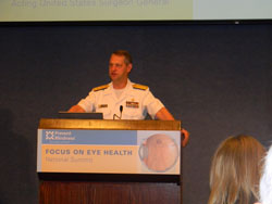 """Addressing the standing room-only crowd at the National Press Club in Washington, D.C. keynote speaker Rear Admiral Boris Lushniak, M.D., Acting United States Surgeon General, noted the important of blindness prevention to a healthy society and """"deputized"""" each of the attendees as public health advocates"""
