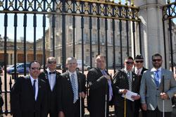 Outside Buckingham Palace, from left: NAEVR's David Epstein, Adam Rowland, Dr. Zampieri,  Jason Pepper,  Chris Rader, Mark Cornell, and Aaron Hale