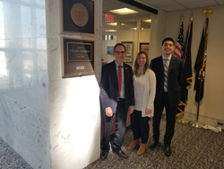 Brian Hofland, left, and Diana Friedman (Research to Prevent Blindness) with Juan Negrete, office of Senate Minority Leader Chuck Schumer (D-NY)